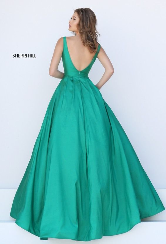 Emerald Sherri Hill 50404 V Back Slim Shoulder Ball Prom Dress
