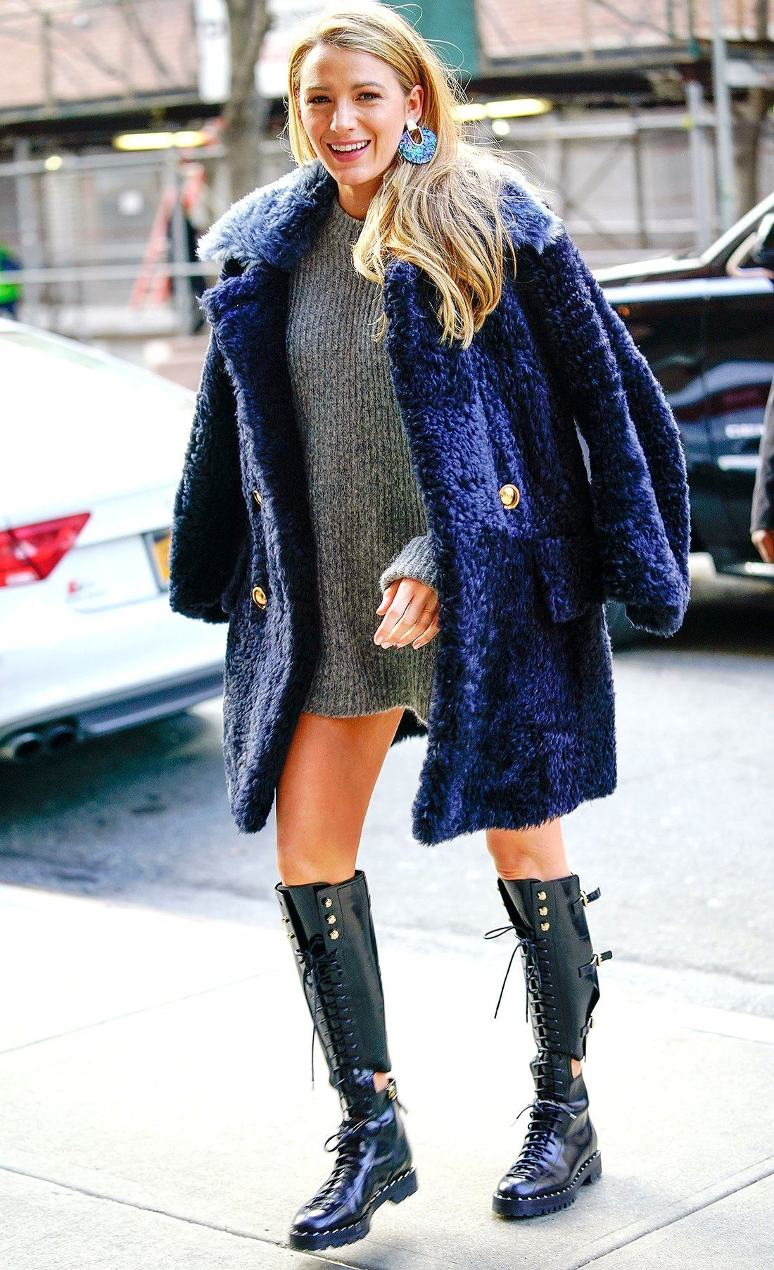 37b1c40c0d8 Blake Lively Wears Just  Pilling Pregnancy Sweater  and Boots