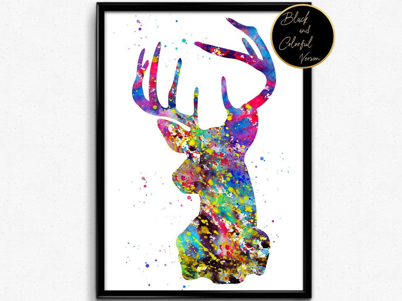 Stag Portrait Animal Watercolor Print Poster Nature Room Decor
