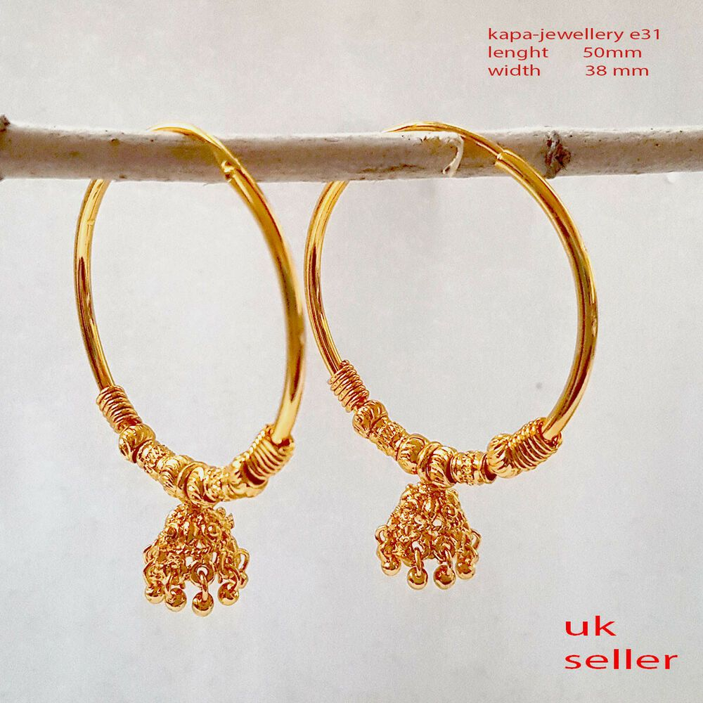 Details about 22-k-Gold-plated-HOOP Stud-Earrings-Indian