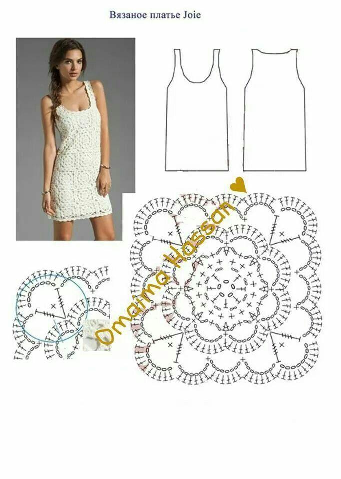 Square & dress | VESTIDOS DE GANCHILLO M | Pinterest | Cuadrados ...