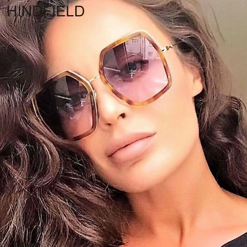 93aa7a9eab4d 2018 New Women Luxury Brand Designer Square Sunglasses Retro Big Oversized Sun  Glasses Female Shades Fashion Red Green Eyewear