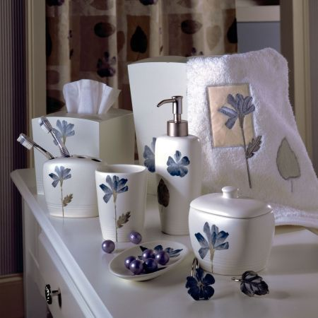 Croscill spa leaf bath collection cool fresh casual - Capiz shell bathroom accessories ...