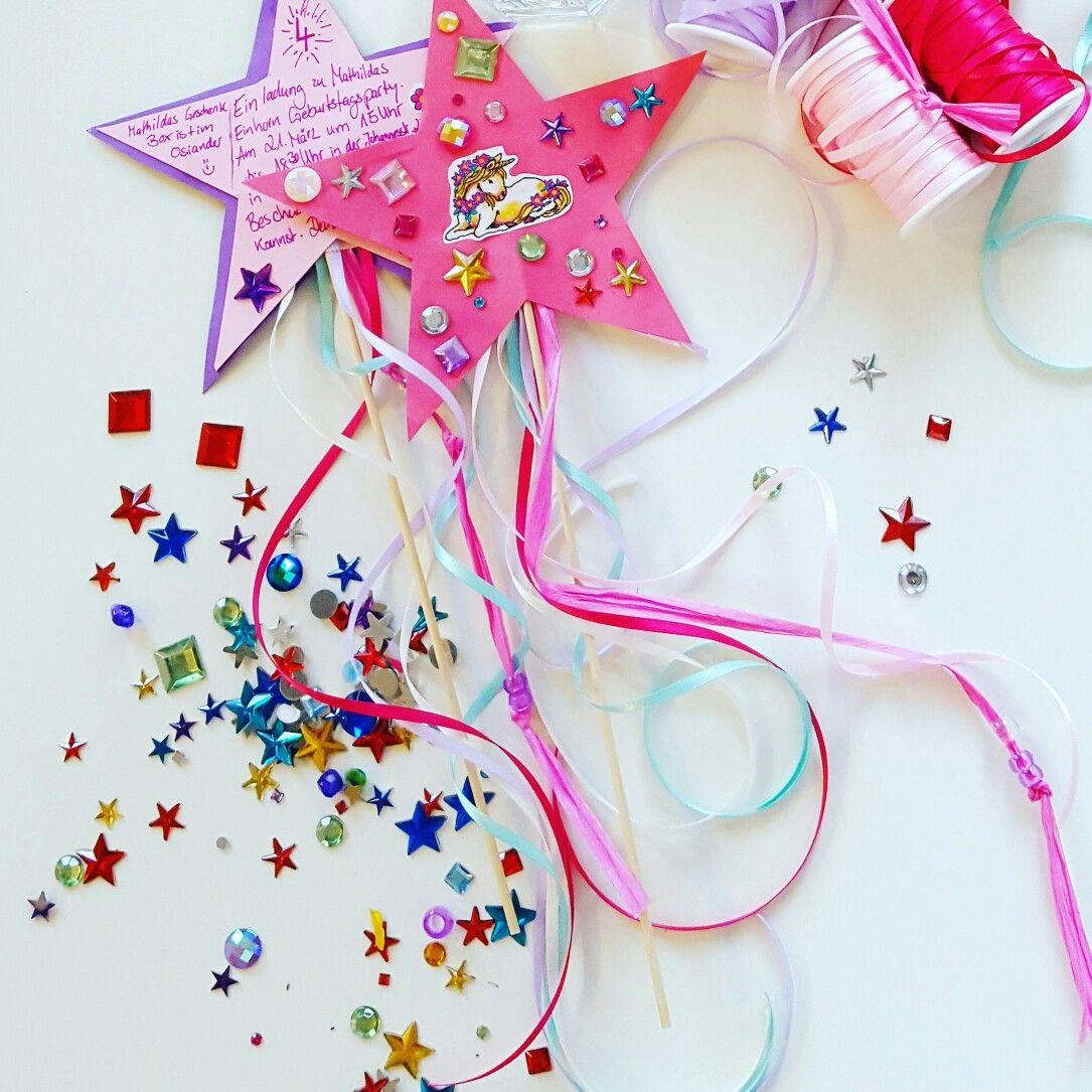 Einladungskarte kindergeburtstag ein feenstab mit einhorn einladung pinterest - Pinterest einladungskarten ...
