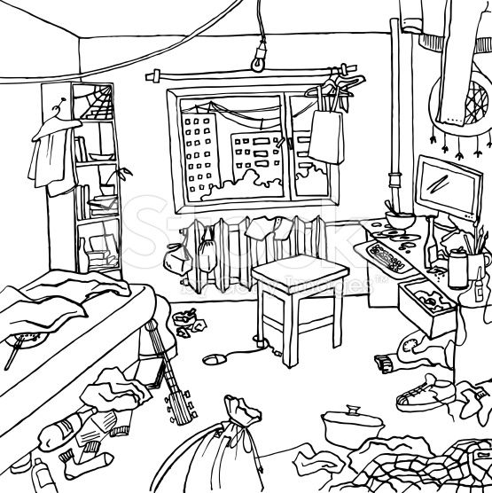 'Illustration of a room that badly nedds cleaning. There