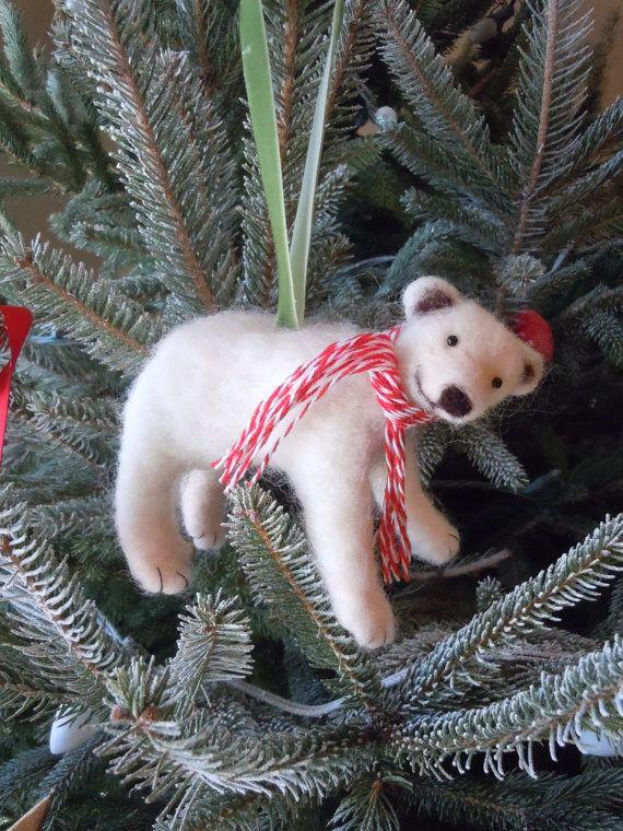 Needle Felted Polar Bear Ornament by HeartFeltByBri on Etsy, $28.00