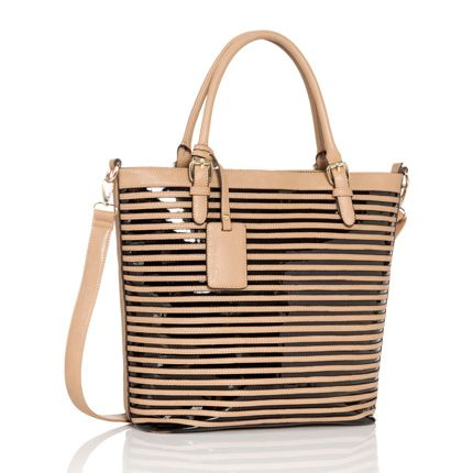 """Justfab.com """"Excursion"""" patent & faux leather striped tote"""