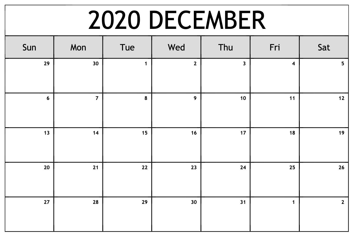 Free Printable December 2020 Calendar Template Pdf Word Excel