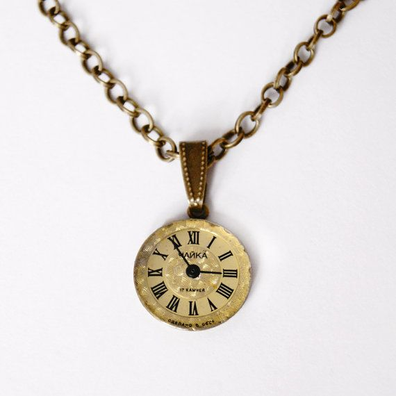 Watch necklace gold watch pendant necklace old watch mechanism what is the time clock face pendant necklace great to classy stylization aloadofball Choice Image