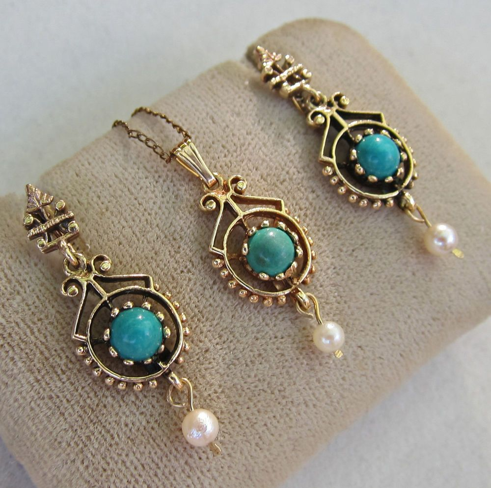 Antique Ornate Etruscan Revival 14k Gold Turquoise