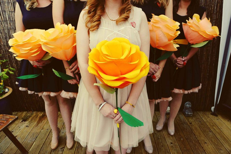 Giant Yellow Paper Flowers Wedding Bouquet Diy Instructions
