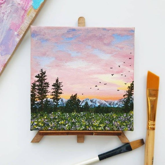 Original painting with easel! Hand painted Sunset