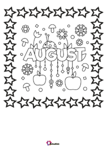 Printable August month name summer coloring page  Summer coloring