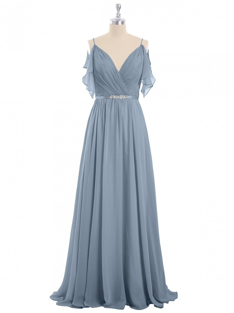 af759adec75f Dusty Blue Gill Spaghetti Strap Chiffon Dress with V-neck | BABARONI