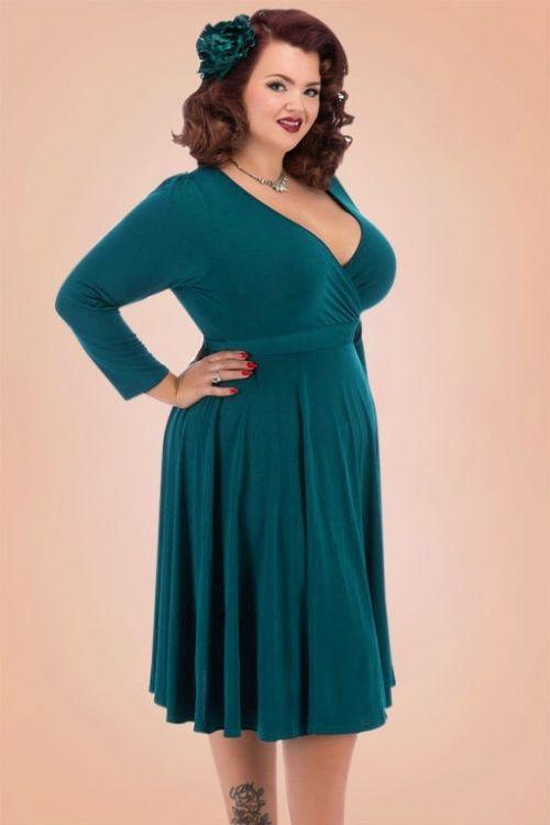 32eb0f48913 Lady V Teal Vintage Plussize Dress 102 30 17462 1