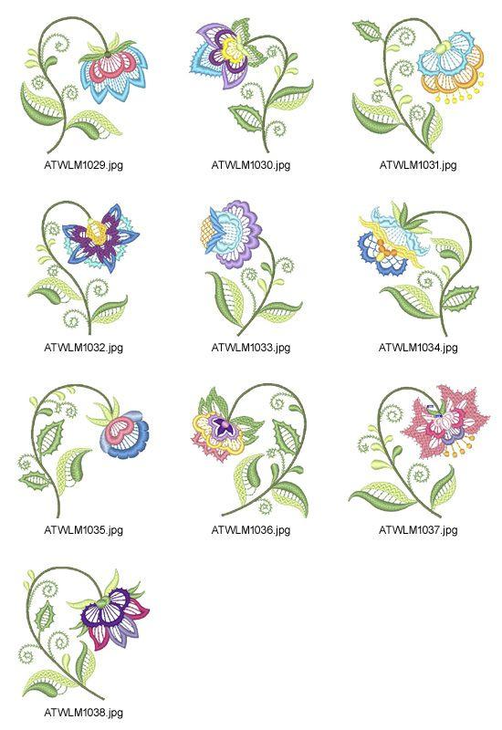 Jacobean-Floral-Lace-LM Embroidery Designs | ATW | Bordado, Bordado ...