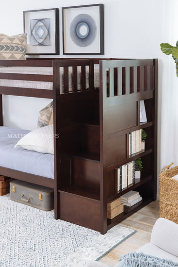 Traditional Youth Twin Over Twin Bunk Bed in Brown Twin