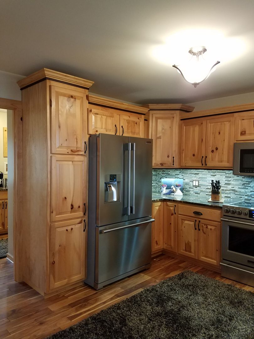 Natural Rustic Hickory Cabinets with Oak Accent Moulding Stained ...
