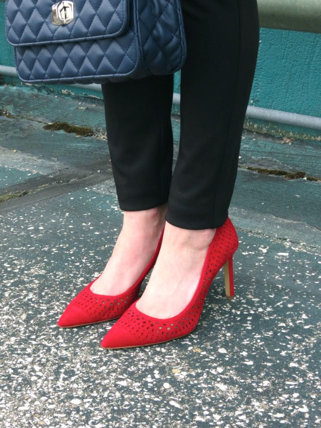 Red perforated pumps from Ann Taylor