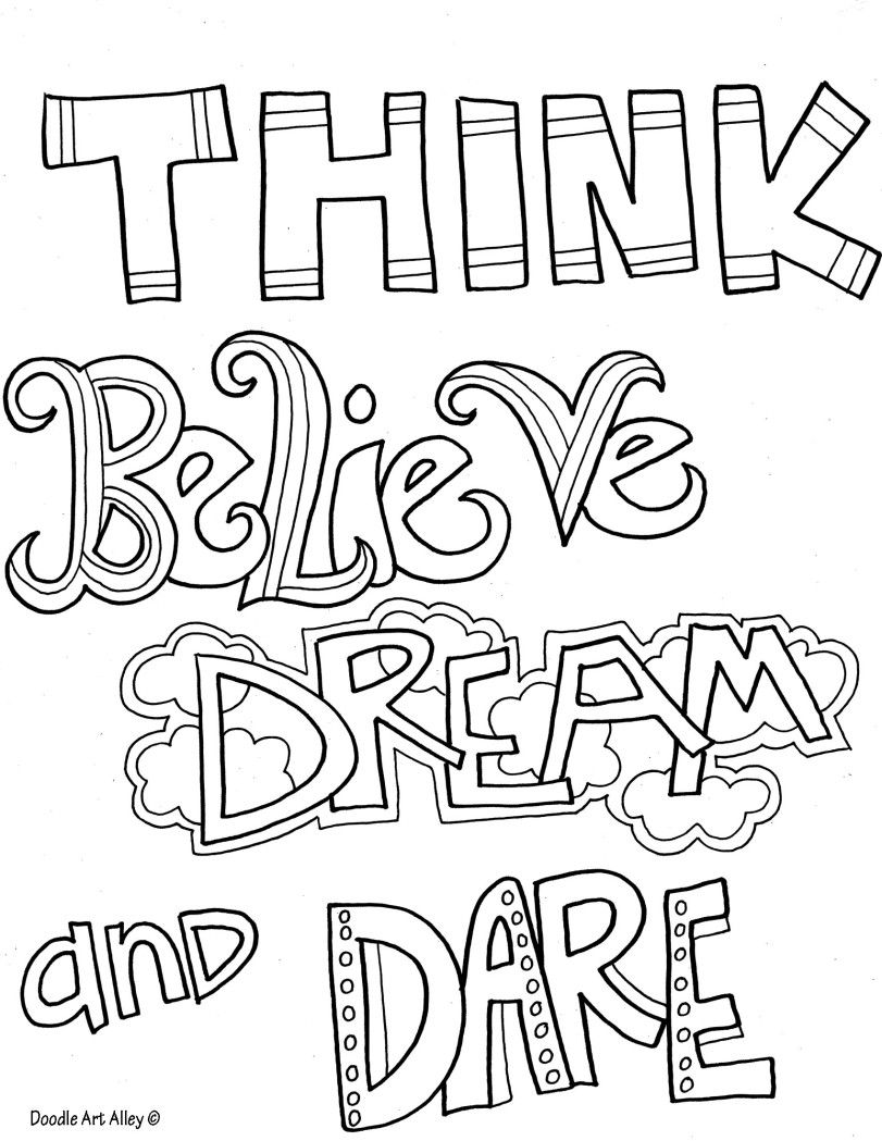 DOODLE ART ALLEY - FREE QUOTES to colour - thinkbelieve ...