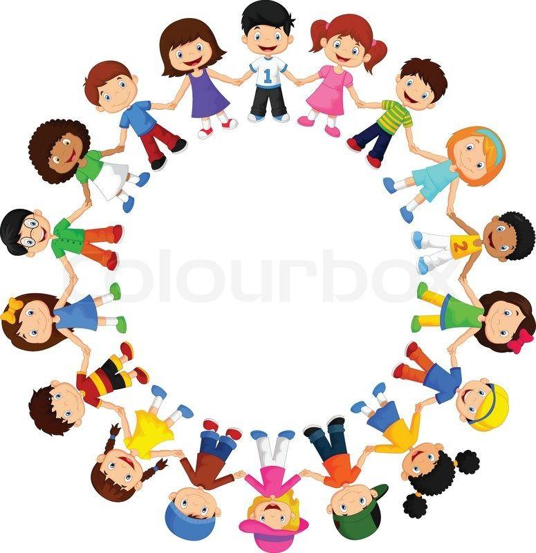 stock vector of vector illustration of circle happy children cartoon different races - Children Cartoon Pictures