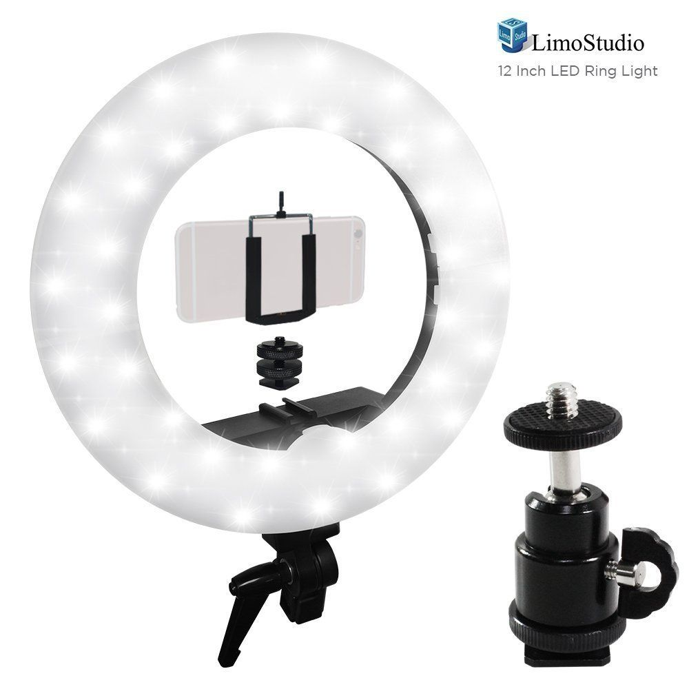 Amazonsmile Limostudio Led Ring Light 5600k With Cellphone Clip Holder Camera Mount Screw Nut Adapter 360 Degree Swivel Mini B Led Ring Light Led Ring Led