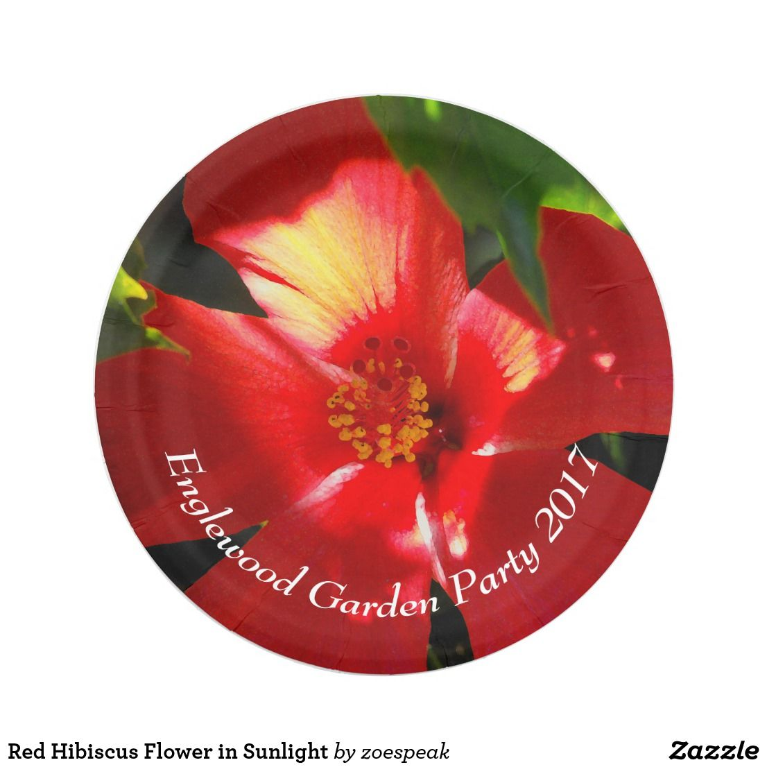 Red Hibiscus Flower in Sunlight Customizable Paper Plates - 25% off with code ZCLASSOF2017 from  sc 1 st  Pinterest & Red Hibiscus Flower in Sunlight Customizable Paper Plates - 25% off ...