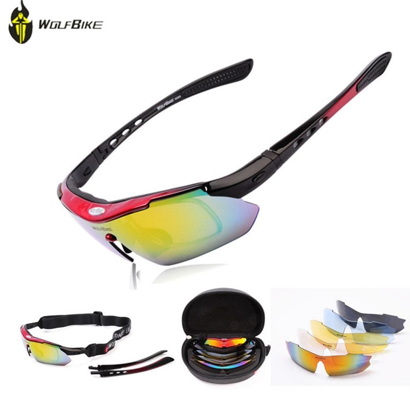 c77814c97d WOLFBIKE Polarized Cycling Glasses Sports Bicycle Glasses Cycling Eyewear  Driving Racing Goggles Eyewear 5 Lens Cycling Glasses Review