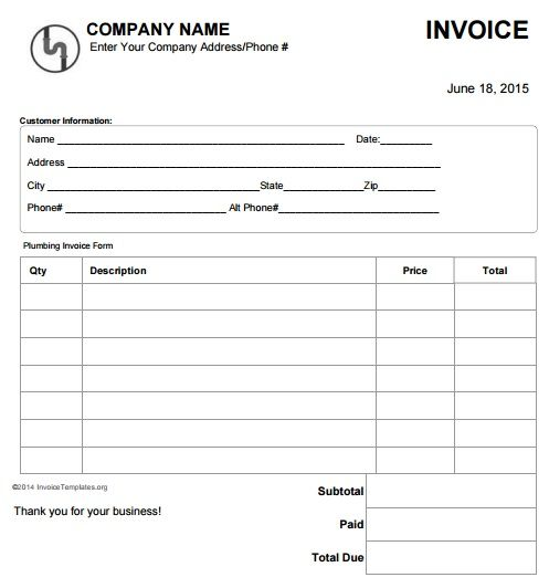 Plumbing Invoice Template Free 4 Free Plumbing Invoice Templates   Proof Of  Purchase Receipt Template Free