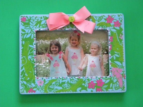 Lilly Pulitzer Picture Frame Blue wooden LATER GATOR Florida by Mama ...