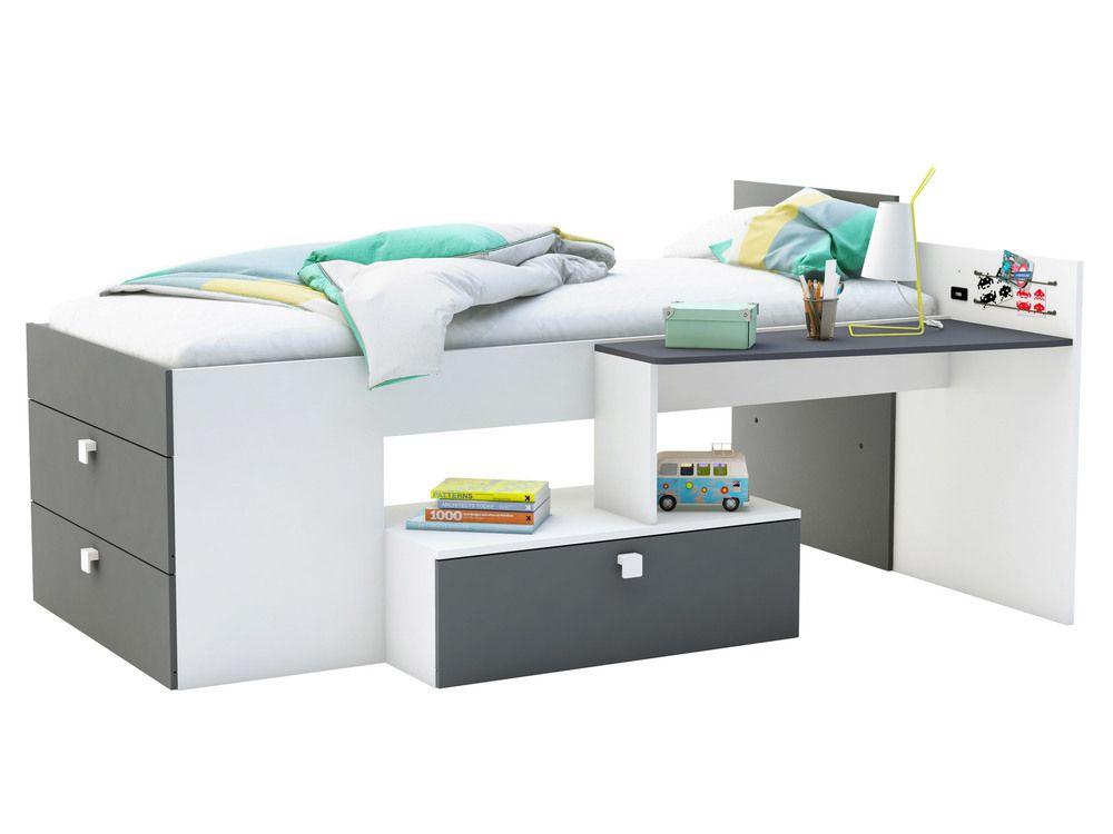 lit combin couchage mono avec bureau et 3 tiroirs lit combin tiroir et pas cher. Black Bedroom Furniture Sets. Home Design Ideas