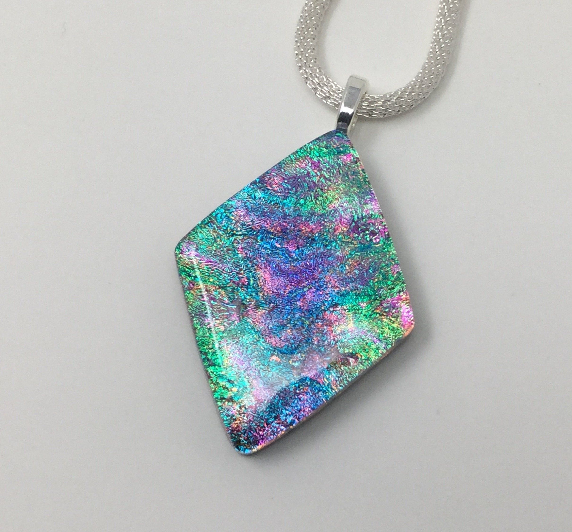 sterling silver bail Dichroic glass pendant
