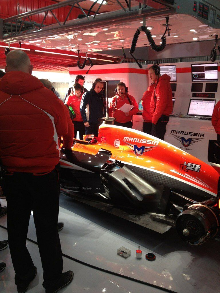 The MR02 in the garage waiting for the kickstart on the 2nd day of testing in Barcelona