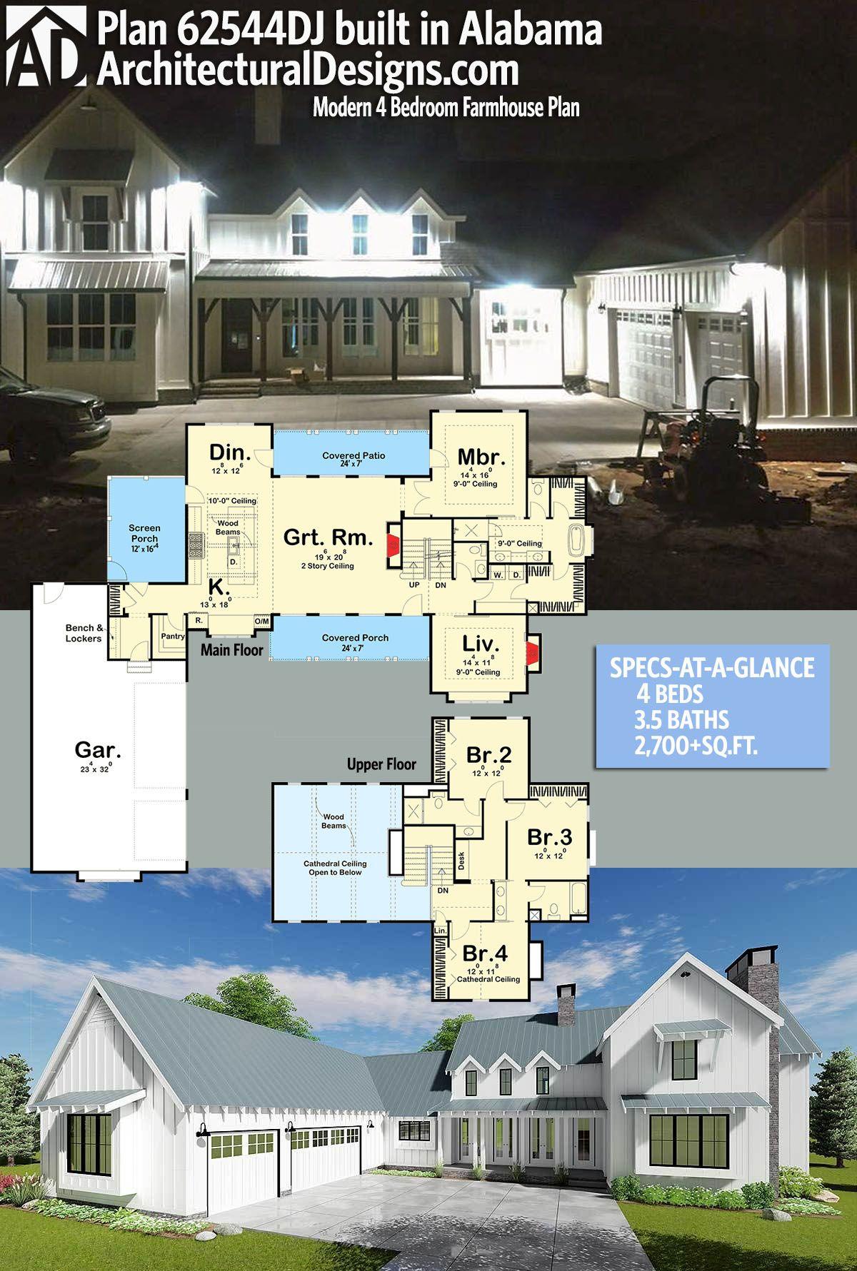 Plan 62544dj Modern 4 Bedroom Farmhouse Plan Farmhouse Plans Modern Farmhouse Plans Home Building Design