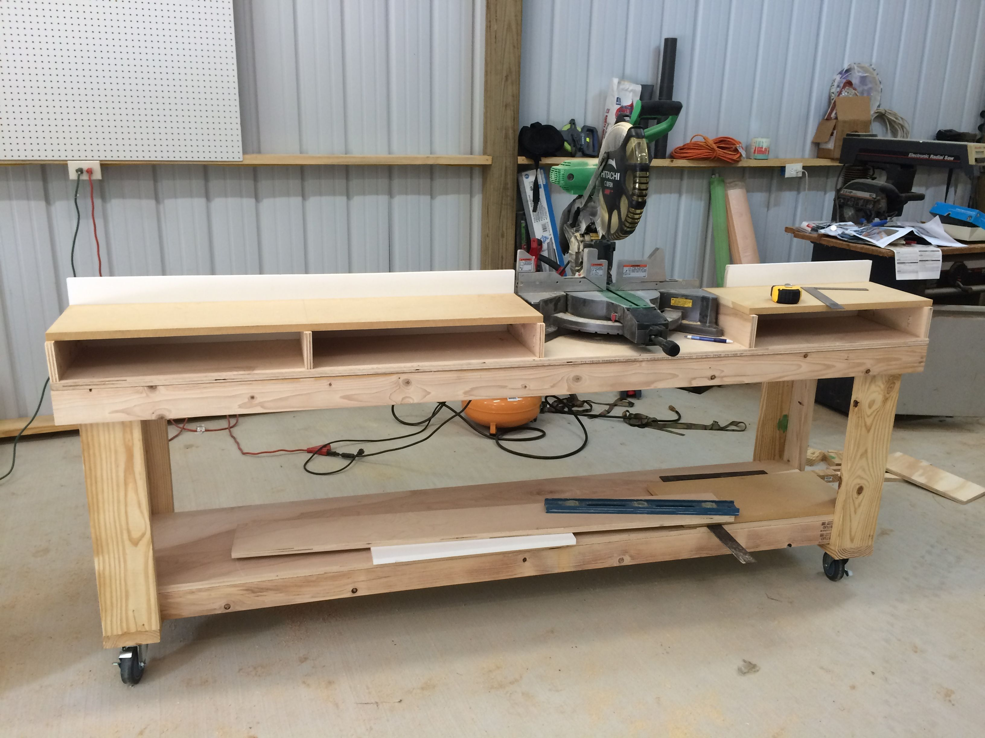 Submitted By: Doug Owen Original Shanty2Chic project it was inspired by: http://www.shanty-2-chic.com/2014/09/diy-miter-saw-bench.html Project (URL): Time to Complete: 5-6 hrs Total Cost: $140 Finishing Details: After finishing the work bench I decided to tackle the miter saw table. It went very well.