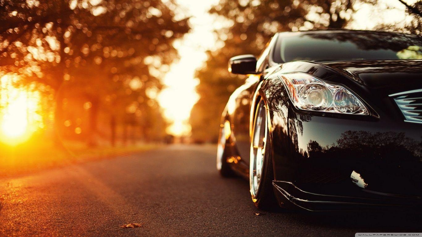Black Infiniti Car On The Road Hd Desktop Wallpaper High Definition