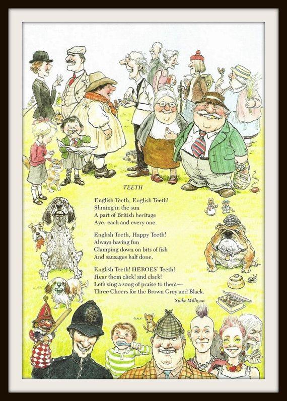 English Teeth Poem Book Print (1985), Spike Milligan, Dental Office ...