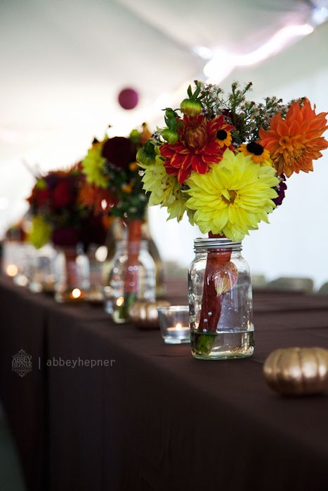 Have Mason jars with water on table Can then drop off the