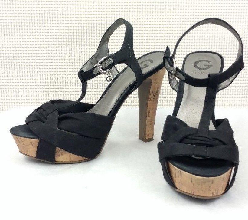 0012a3a5e383 Women s GUESS Black Cork Platform Heels Size 11 B M Ankle Strap Sandals  Open  GUESS  Sandals
