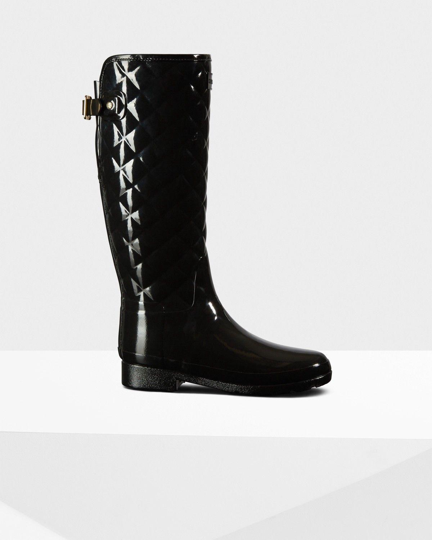 Hunter Women's Original Refined Quilted Gloss Rain Boots 15XZWM6