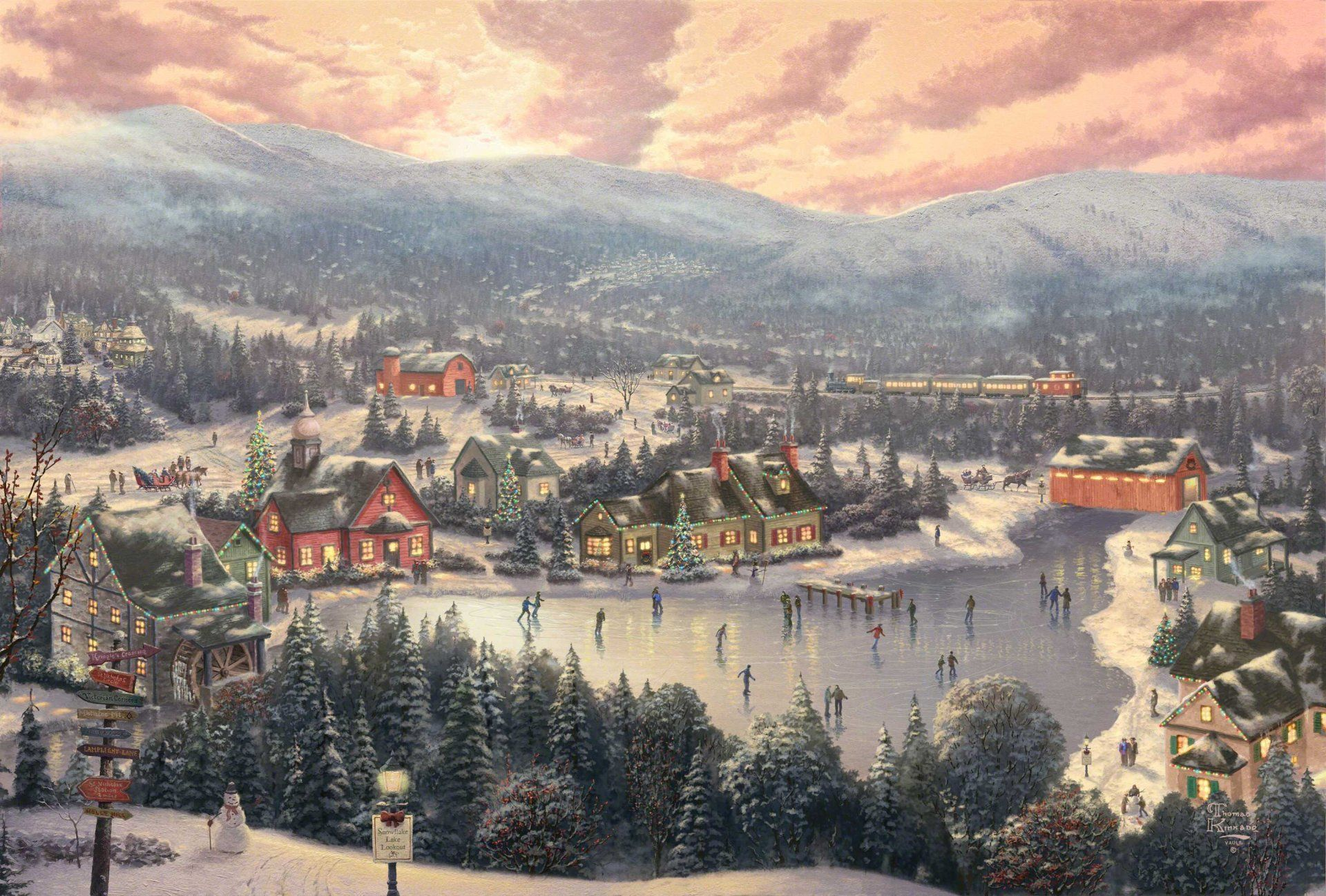 Sunset on snowflake lake thomas kinkade painting painting thomas thomas kinkade fabulous town town winter lake roller holiday christmas new year spruce snowman train bridge mill mountain forest sunset hd wallpaper voltagebd Gallery