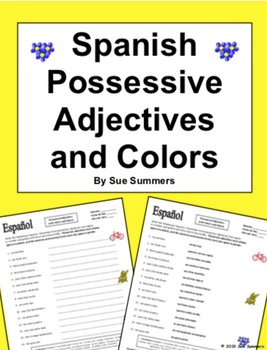 Spanish Possessive Adjectives With Colors And Common Nouns By Sue Summers Helpful For Distance Learning And Hom Possessive Adjectives Common Nouns Adjectives