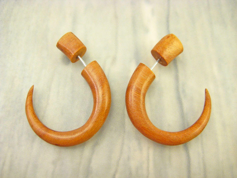 Fake gauges earrings wood hook tribal earrings gauges