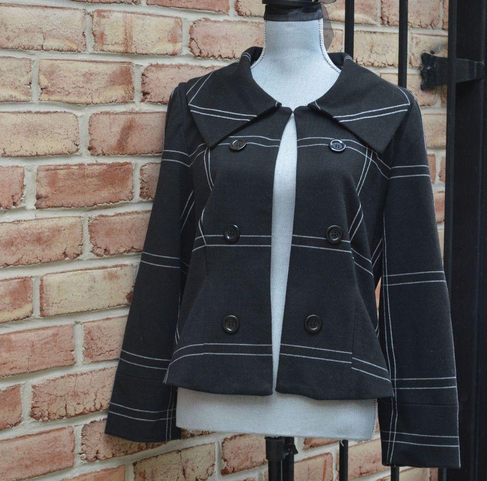 Grace Elements Geometric Lines Black Polyester Open Front Blazer Jacket sz 14 #GraceElements #Blazer