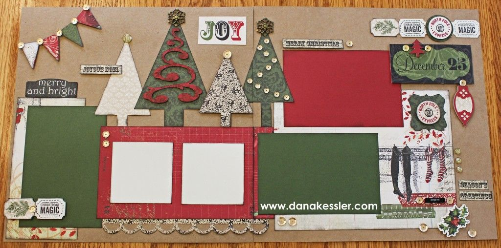 Two Page Holiday Christmas Scrapbook Layout Pages Yuletide