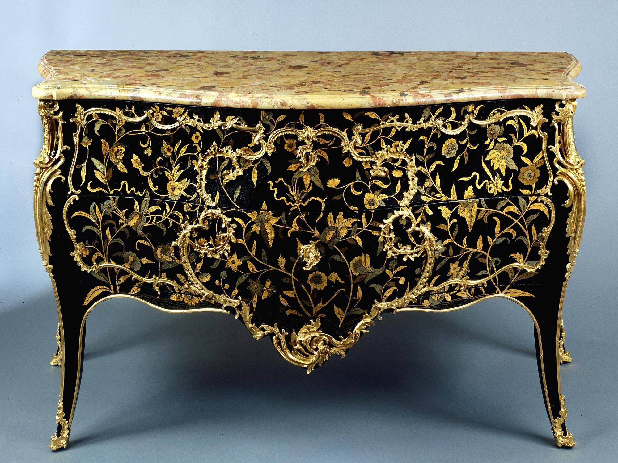 Louis Xv Commode A Louis Xv Black Lacquer And Ormolu Commode With A Pair Of .