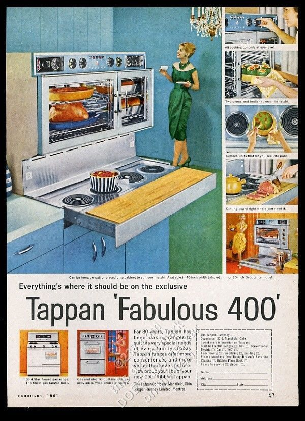 1961 Tappan Fabulous 400 Range Double Oven Pull Out Cooktop 6 Photo Print Ad Double Oven Print Ads Tappan