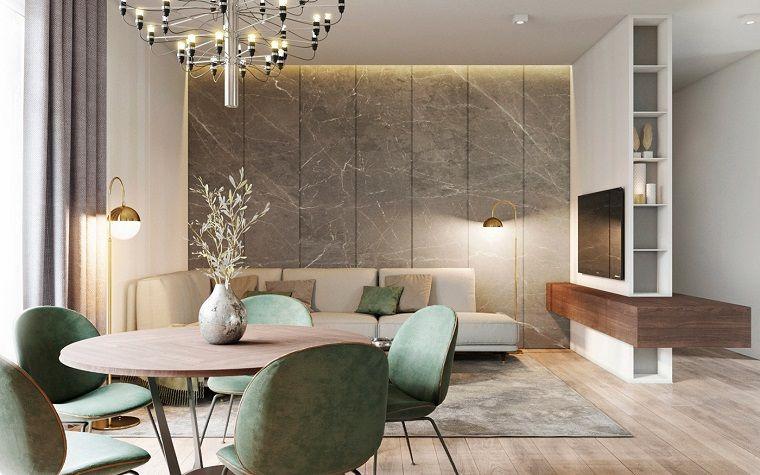 Arredare salotto e sala da pranzo insieme con mobili moderni, divano ...
