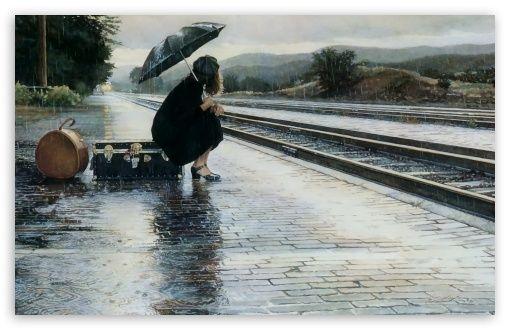 Výsledek obrázku pro girl in the rain painting