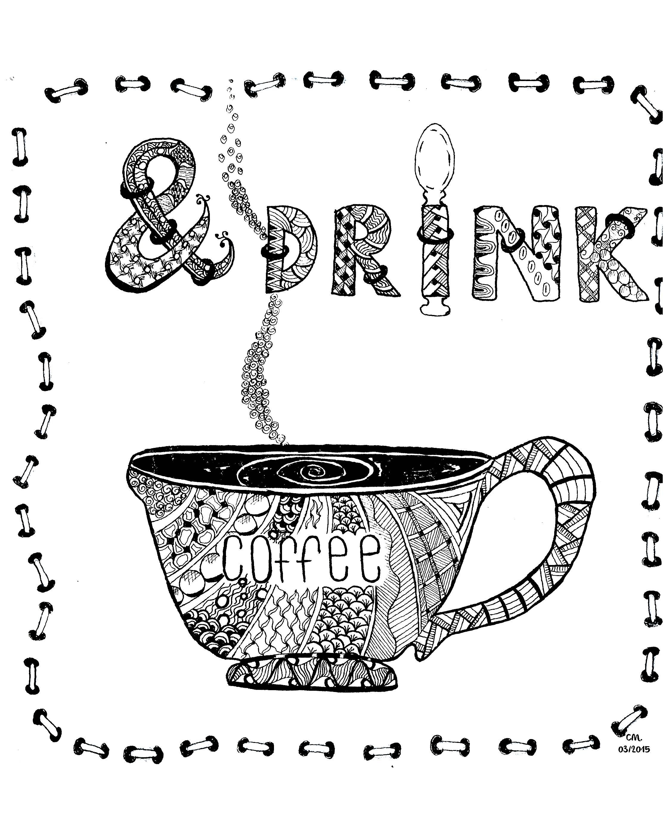 Do anti stress colouring books work -  Drink Coffee Exclusive Zentangle Coloring Page See The Original Work From The Gallery Zentangle Artist Cathy M Zen And Anti Stress